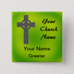 Emerald Church Greeter Nametags with Celtic Cross Button