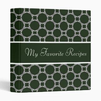 Emerald Circles Recipe Book 3 Ring Binder