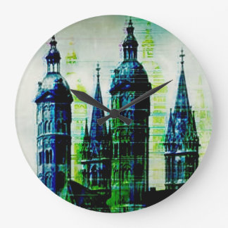 Emerald City Gothic Spires Glitch Art Large Clock