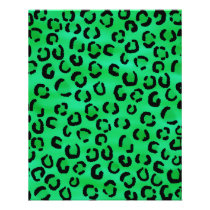 Emerald Color Leopard Print Pattern. Flyer