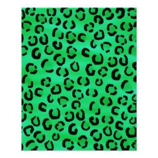 Emerald Color Leopard Print Pattern. Full Color Flyer