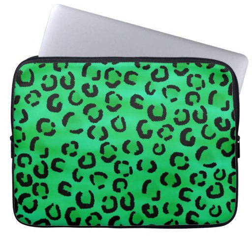 Emerald Color Leopard Print Pattern. Laptop Computer Sleeves