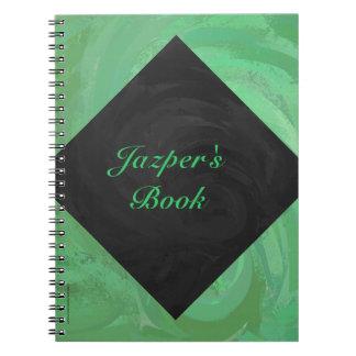Emerald Cream and Black Monogram Spiral Notebook
