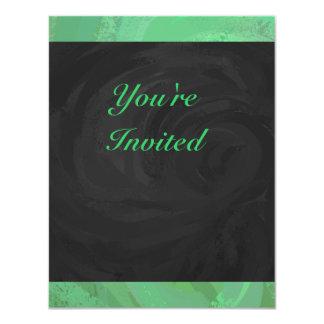 Emerald Cream and Black Party 4.25x5.5 Paper Invitation Card