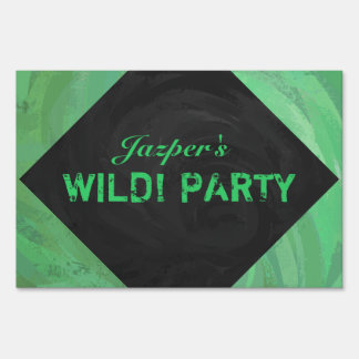 Emerald Cream and Black Party Lawn Sign
