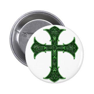 Emerald Cross Pinback Buttons
