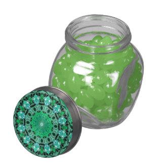 Emerald Crystals, Abstract Mint Green Mandala Glass Candy Jar