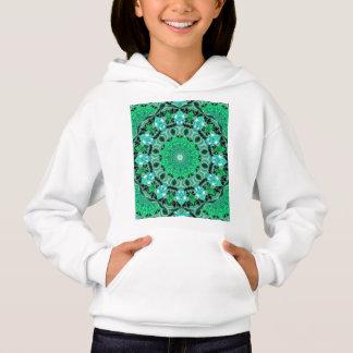 Emerald Crystals, Abstract Mint Green Mandala Hoodie