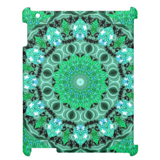 Emerald Crystals, Abstract Mint Green Mandala Cover For The iPad