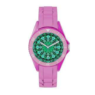 Emerald Crystals, Abstract Mint Green Mandala Wrist Watch