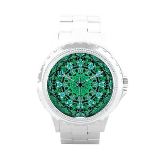 Emerald Crystals, Abstract Mint Green Mandala Wristwatch