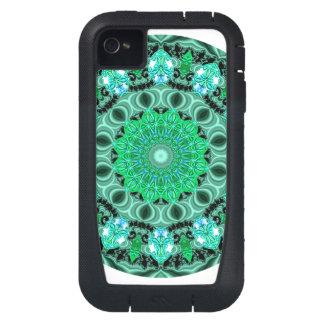 Emerald Crystals Mandala, Absract Mint Green iPhone4 Case