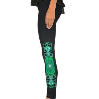 Emerald Crystals Mandala, Absract Mint Green Legging
