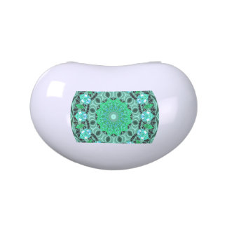 Emerald Crystals Mandala, Abstract Mint Green Jelly Belly Candy Tin