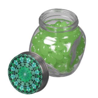 Emerald Crystals Mandala, Abstract Mint Green Glass Jar