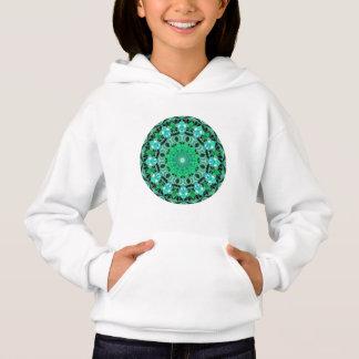 Emerald Crystals Mandala, Abstract Mint Green Hoodie