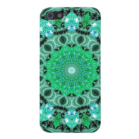 Emerald Crystals Mandala, Abstract Mint Green iPhone SE/5/5s Cover