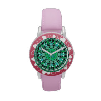 Emerald Crystals Mandala, Abstract Mint Green Watches