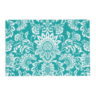 emerald damask front and back placemat