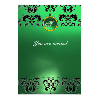 EMERALD DAMASK GEM STONE MONOGRAM green  black Card