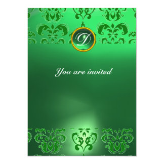 EMERALD DAMASK GEM STONE MONOGRAM green Card