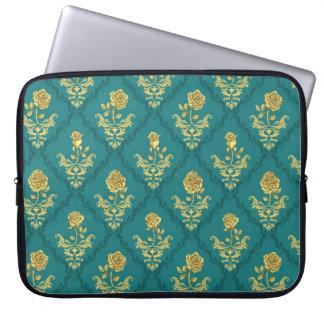Emerald Damask Rose laptop sleeve
