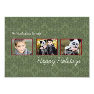 Emerald Damask Triple Photo Holiday Flat Cards