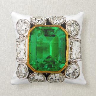 Emerald Diamonds Sofa Bling Jewelry Throw Pillow