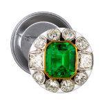Emerald Diamonds Vintage Costume Jewelry Brooch Button