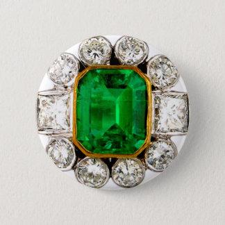 Emerald Diamonds Vintage Costume Jewelry Brooch Pinback Button
