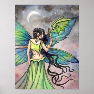 Emerald Dragon Fairy Fantasy Art by Molly Harrison Posters