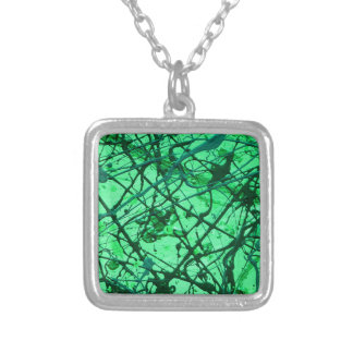 EMERALD DREAM vertical (an abstract art design) ~. Silver Plated Necklace