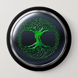 Emerald Druid Warrior Shield Pinback Button