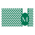 Emerald Elegant Chevron Monogram Business Card