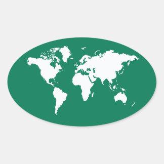 Emerald Elegant World Oval Sticker