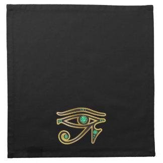 Emerald Eye of Ra in Gold Napkins