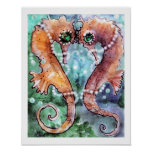 Emerald Eye Sea horses Poster
