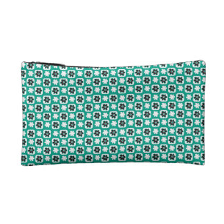 Emerald flower makeup bag