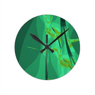 Emerald Fractal Wall Clock