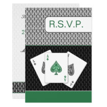 emerald g 3 aces vegas wedding rsvp cards