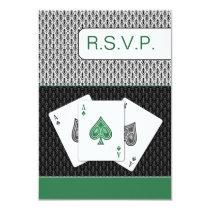 emerald g 3 aces vegas wedding rsvp cards, 3.5 x 5 card