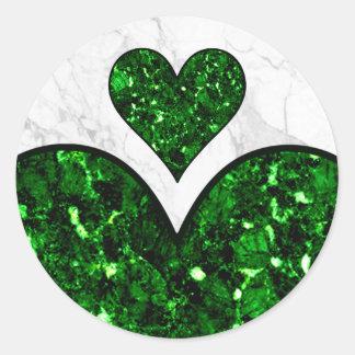 Emerald Gem Heart Classic Round Sticker