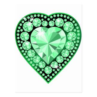 Emerald Gem Heart Postcard