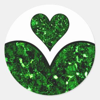 Emerald Gem Heart Round Sticker