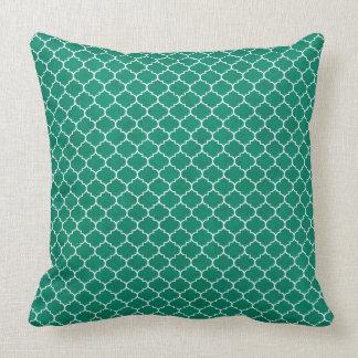 Emerald Geometric Ornamental Design Throw Pillow