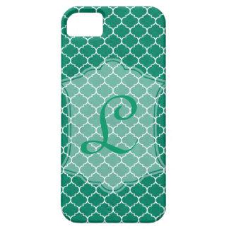 Emerald Geometric Ornamental Design with Monogram iPhone 5 Case