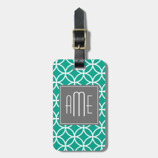 Emerald Geometric Pattern with Monograms Bag Tag
