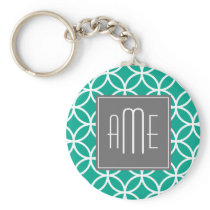 Emerald Geometric Pattern with Monograms Keychain