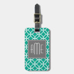 Emerald Geometric Pattern with Monograms Travel Bag Tags