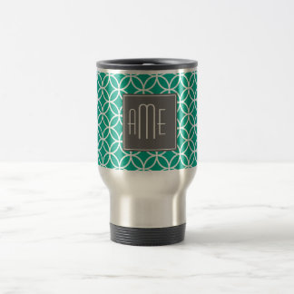 Emerald Geometric Pattern with Monograms Travel Mug